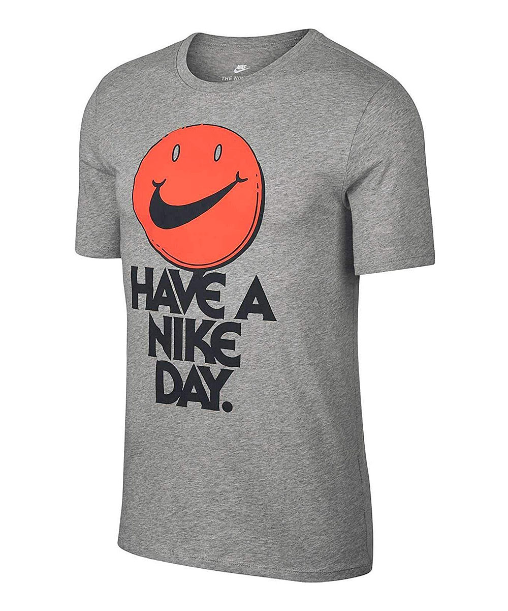 Nike Men's Tee Shirts Dark - Dark Gray Heather & Mango 'Have a Nike Day' Tee - Men Dark Gray Heather & Mango 'Have a Nike Day' Tee - Men. He can strut his competitive side in this lightweight, all-cotton tee that boasts an edge of logo detail. Signature SwooshTM logoFull graphic text: Have a Nike day.100% cottonMachine wash; tumble dryImported
