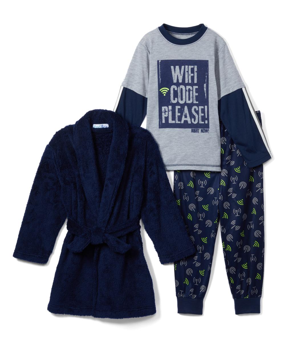 Freestyle Revolution Boys' Sleep Bottoms WIFI - Gray & Black 'WiFi Code' Pajama Set - Boys