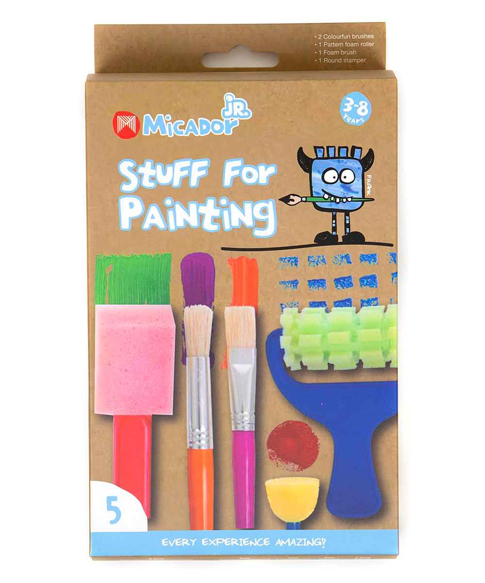 Micador jR.  Art Paint Multi - Pink Stuff For Painting Brush Set Pink Stuff For Painting Brush Set. Give your budding artist the tools for creation with this versatile set of brushes complete with clever rollers.Includes one fuchsia flat brush, one orange round brush, one blue patterned foam roller, one red foam brush and one blue round stamp roller (five pieces total)19'' HImported