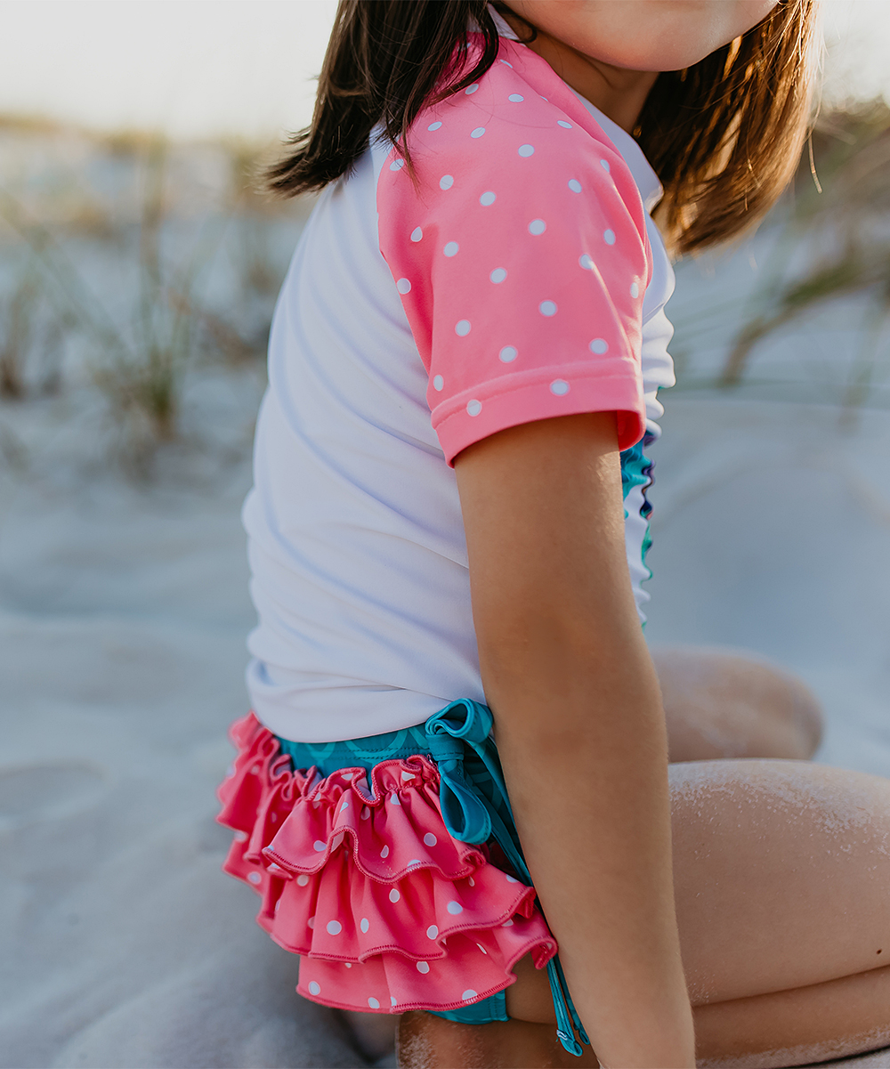 Sea Turtle Coral Toddler Baby Girls Short Sleeve Ruffle T-Shirt