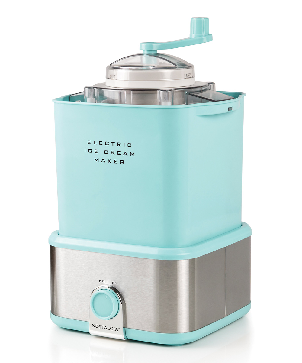 Nostalgia Electrics  Ice Cream Makers  - Candy Crusher Electric Ice Cream Maker Candy Crusher Electric Ice Cream Maker. Become the hostess with the mostess when you delight your guests with this convenient unit that dispenses sweet treats in a snap. Integrated candy crank allows you to drizzle your favorite toppings for mouth-watering flair. Includes removable bucket, base, and topping-crushing hand crank9'' W x 12.2'' H x 8.8'' DMakes up to 64-oz. of ice cream at a timePlastic / metalOn/off dial switchElectric motor for hand-free churningInner cord storageWipe cleanImported