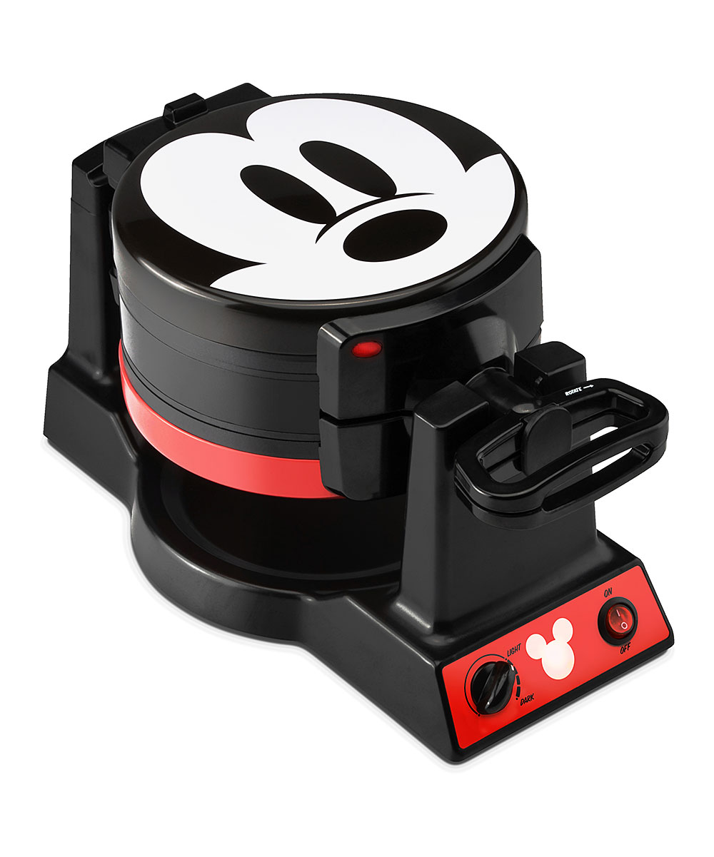 Select Brands  Waffle Makers  - Mickey Mouse Double Flip Waffle Maker Mickey Mouse Double Flip Waffle Maker. Bring your Disney fandom into the kitchen with this sleek waffle maker..  17.91'' W x 16.1'' H x 19.09'' DPlastic / metalNon-skid rubber feetHand washImported