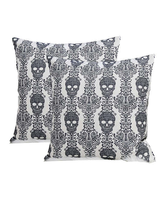 Home Accent Pillows  Throw Pillows White - White & Charcoal Skull Ornate Throw Pillow - Set of Two White & Charcoal Skull Ornate Throw Pillow - Set of Two. Infuse your interior decor with added excitement by bringing in these throw pillows boasting a bold skull-inspired motif. Includes two throw pillows (two pillows and two inserts)100% polyesterSpot cleanImported