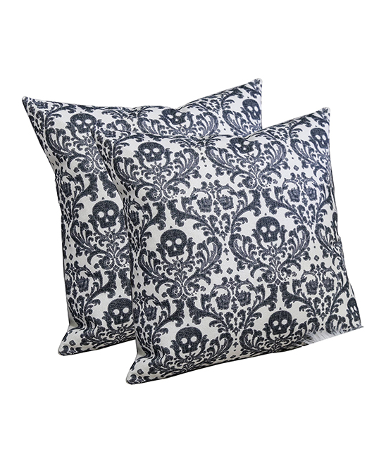Home Accent Pillows  Throw Pillows White - White & Charcoal Skull Scroll Throw Pillow - Set of Two White & Charcoal Skull Scroll Throw Pillow - Set of Two. Infuse your interior decor with added excitement by bringing in these throw pillows boasting a bold skull-inspired motif. Includes two throw pillows (two pillows and two inserts)100% polyesterSpot cleanImported