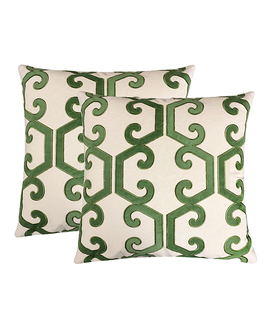 Home Accent Pillows  Throw Pillows Olive - Olive & Cream Scroll Honeycomb Throw Pillow - Set of Two Olive & Cream Scroll Honeycomb Throw Pillow - Set of Two. Infuse your interior decor with added excitement by bringing in these throw pillows boasting a bold geometric motif. Includes two throw pillows (two pillows and two inserts)100% polyesterSpot cleanImported