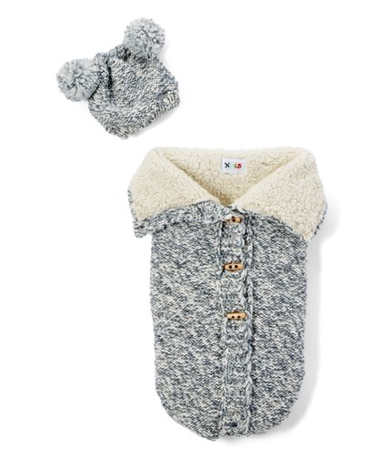 NYGB Chunky Pom-Pom Hat and Snuggle Sack Gray