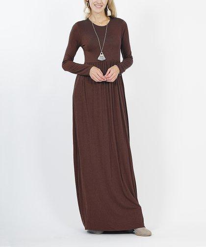 670d44cdb590f Lydiane Brown Long-Sleeve Empire-Waist Maxi Dress - Women | Zulily