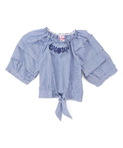 5481f9a27a2cb6 Chillipop Navy Stripe Embroidered Off-Shoulder Top - Girls | Zulily