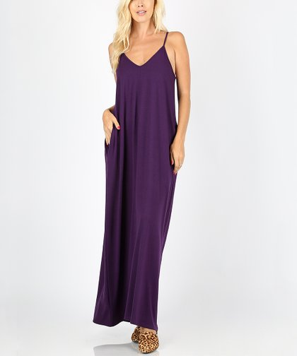 e1ac486221a91 Zenana Dark Purple Pocket Sleeveless Maxi Dress - Women   Plus