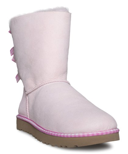 eaf1d92cf45 UGG® Seashell Pink Bailey Bow Gingham Suede Boot - Women | Zulily