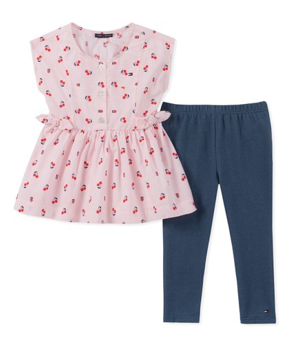 721b8491 Pink Cherry Ruffle Sleeveless Top & Navy Leggings - Infant. Tommy Hilfiger