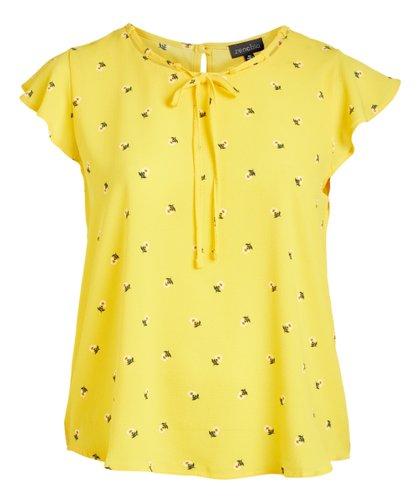 ac3e0c084f022 Zenobia Yellow Floral Tie-Neck Flutter Sleeve Top - Plus