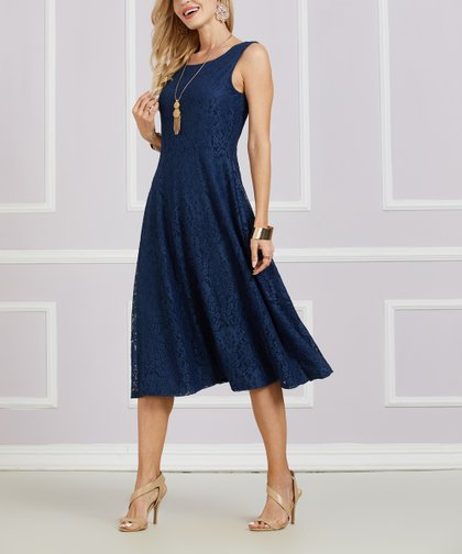 9cc5d86f Suzanne Betro Dresses Navy Lace Sleeveless Fit & Flare Dress - Women ...