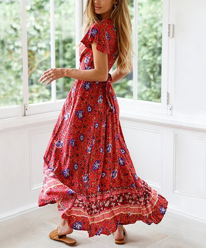 feb314b051 LAKLOOK Red Floral Side-Slit V-Neck Maxi Dress - Women | Zulily