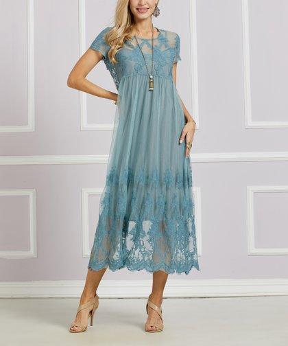 eccbaef8 Suzanne Betro Dresses Dusty Blue Lace Cutout Midi Dress - Women | Zulily