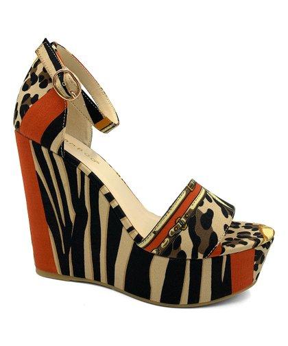 d32e8426910 Bamboo Brown Leopard & Zebra Choice Wedge Sandal - Women   Zulily