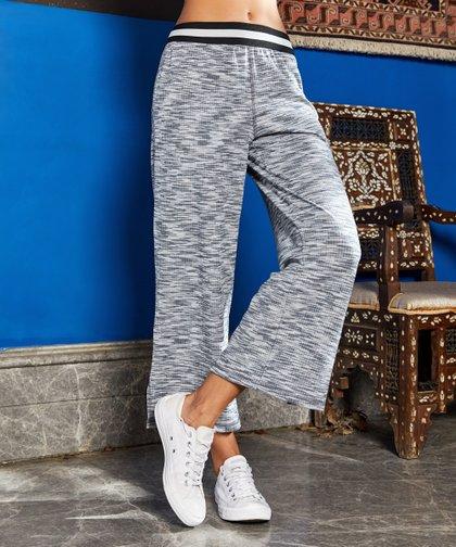 663931aa1e01e Gray & Ivory Stripe-Waist Crop Pants - Women & Plus. Simple by Suzanne Betro