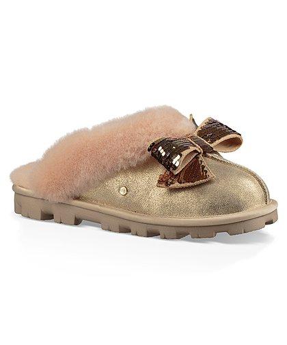 fa0f2ecfc2bb62 UGG® Gold Sequin-Bow Coquette Suede Slipper - Women