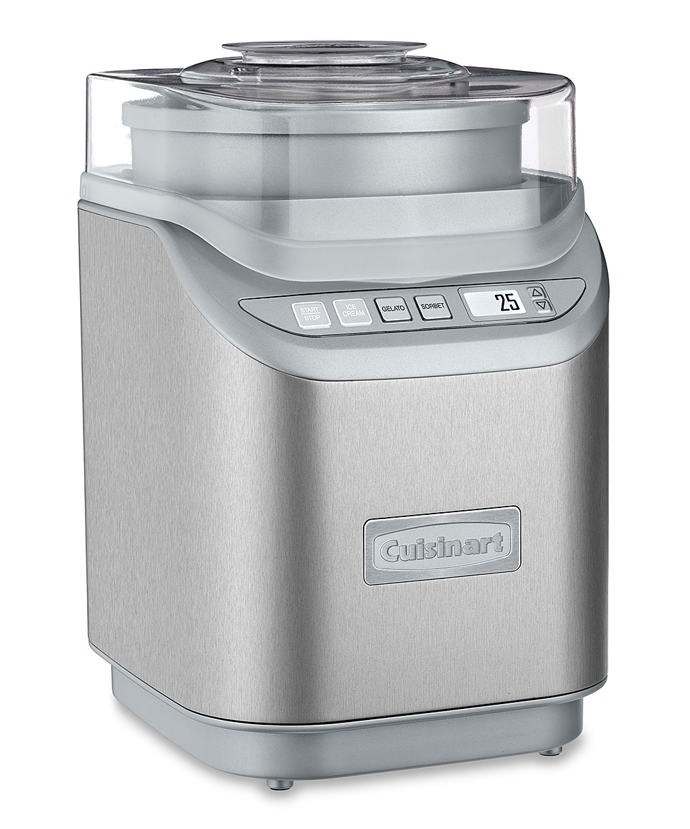 Cuisinart  Ice Cream Makers Silver - Electronic Ice Cream Maker Electronic Ice Cream Maker. Enjoy a sweet homemade treat with this ice cream maker that features an easy-to-use control panel as well as multiple speeds and settings to pick from. FeaturesControl panelThree settings and multiple speedsCountdown timerProduct details Includes ice cream maker and recipe book11.25'' W x 17.75'' H x 12.5'' DHolds 2 qt.Stainless steelBPA-freeHand washImported