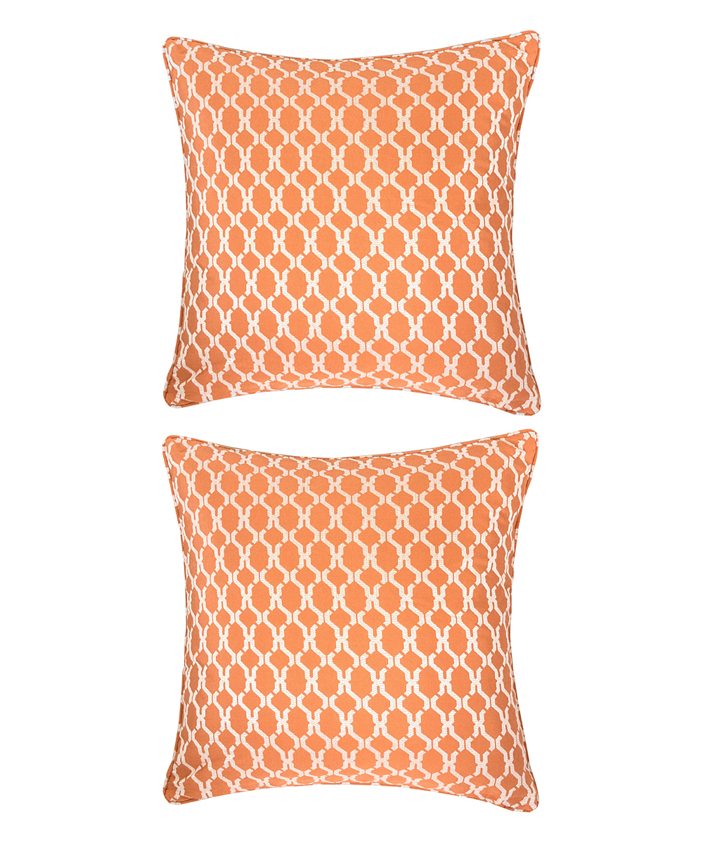 Home Accent Pillows  Throw Pillows Orange - Orange Lattice Throw Pillow - Set of Two Orange Lattice Throw Pillow - Set of Two. Enliven your space by updating your couch or bed with these throw pillows that help to introduce a fun pop of color into decor. Includes two throw pillows (two pillows and two inserts)100% polyesterSpot cleanImported