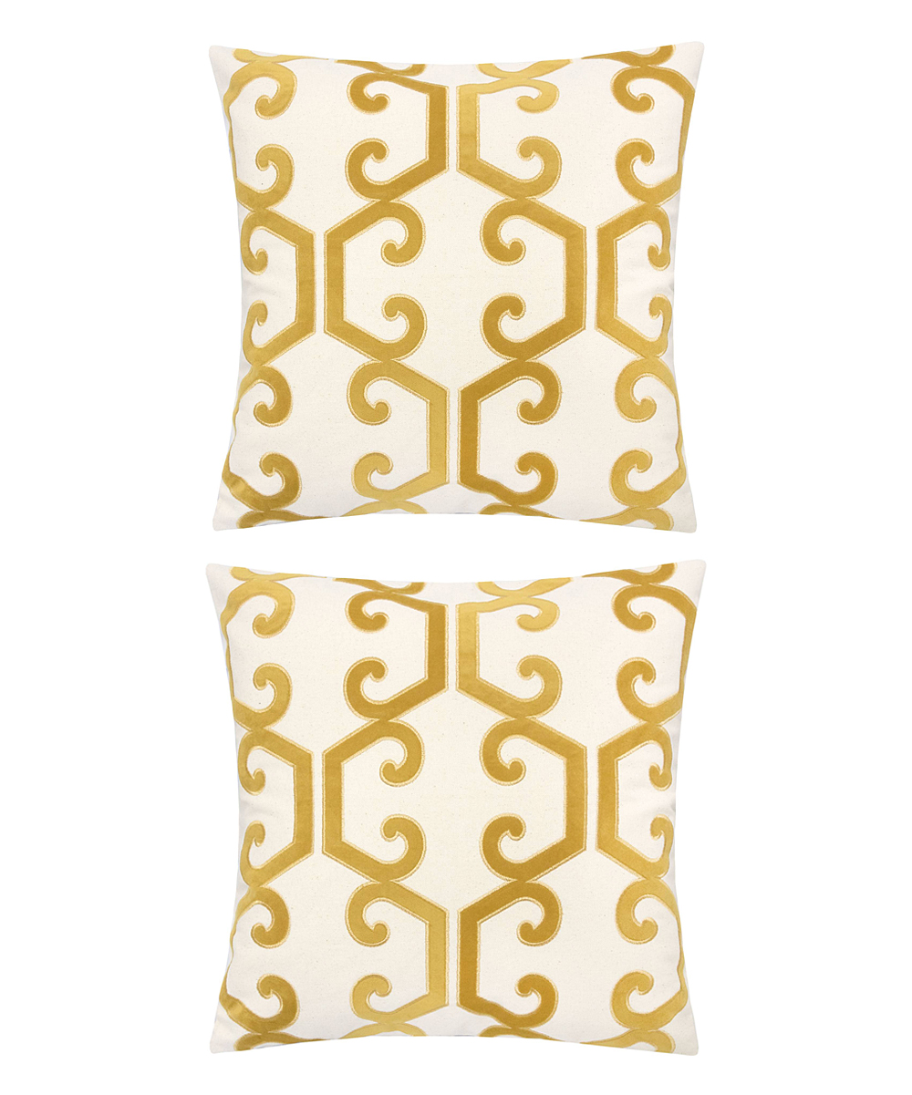 Home Accent Pillows  Throw Pillows Yellow - Yellow & Cream Scroll Honeycomb Throw Pillow - Set of Two Yellow & Cream Scroll Honeycomb Throw Pillow - Set of Two.  Infuse your interior decor with added excitement by bringing in these throw pillows boasting a bold geometric motif. Includes two throw pillows (two pillows and two inserts)100% polyesterSpot cleanImported