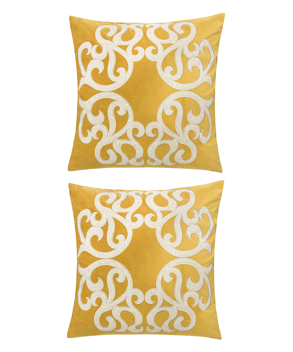 Home Accent Pillows  Throw Pillows Yellow - Yellow & Cream Ornate Throw Pillow - Set of Two Yellow & Cream Ornate Throw Pillow - Set of Two. Enliven your space by updating your couch or bed with these throw pillows that help to introduce a fun pop of color into decor. Includes two throw pillows (two pillows and two inserts)100% polyesterSpot cleanImported