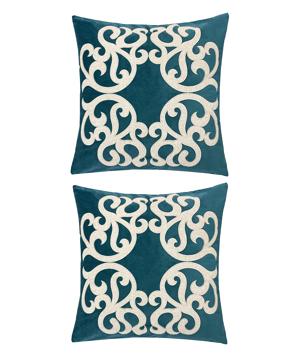 Home Accent Pillows  Throw Pillows Cerulean - Cerulean & Cream Ornate Throw Pillow - Set of Two Cerulean & Cream Ornate Throw Pillow - Set of Two.  Enliven your space by updating your couch or bed with these throw pillows that help to introduce a fun pop of color into decor.Includes two throw pillows (two pillows and two inserts)100% polyesterSpot cleanImported