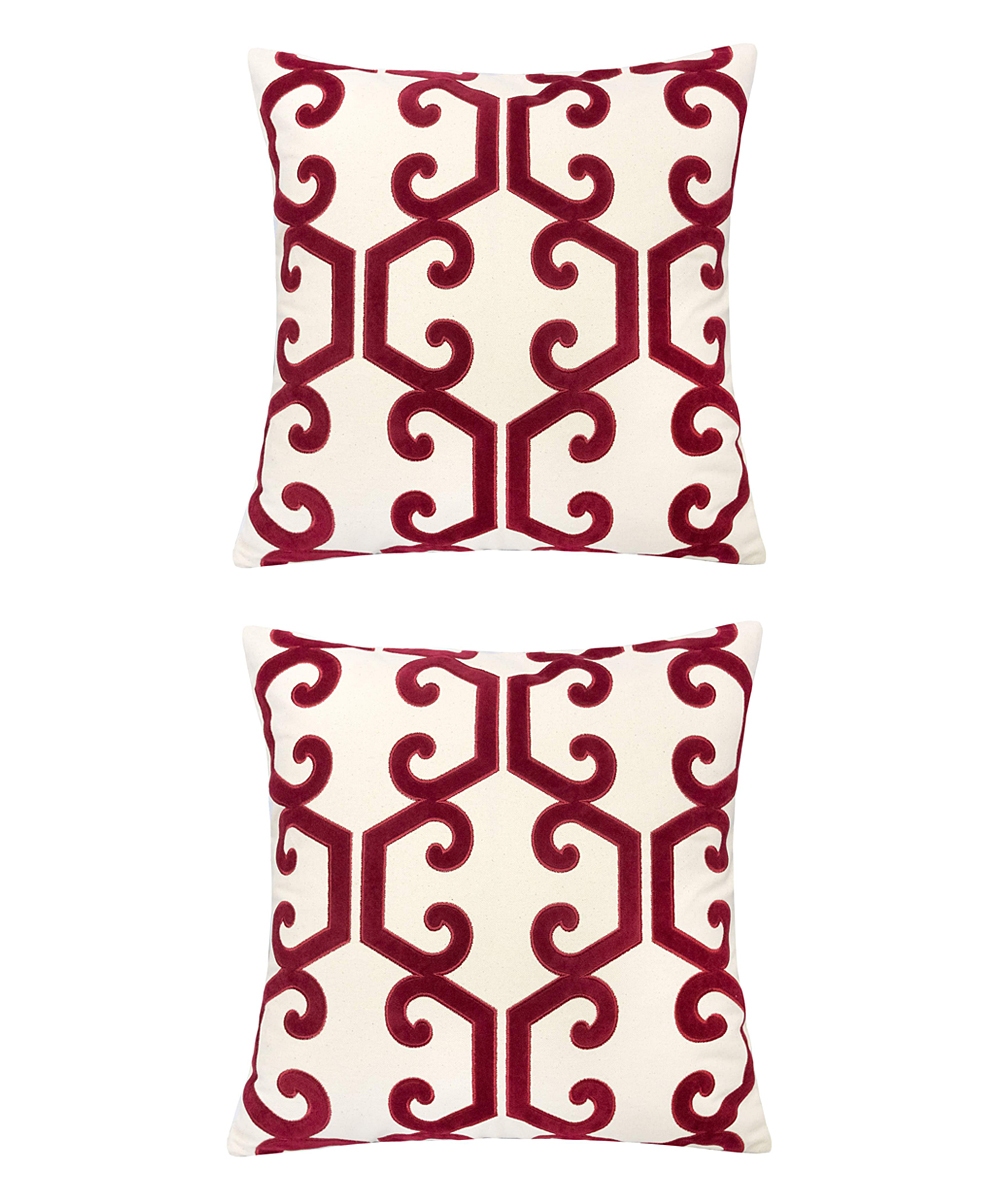 Home Accent Pillows  Throw Pillows Red - Red & Cream Scroll Honeycomb Throw Pillow - Set of Two Red & Cream Scroll Honeycomb Throw Pillow - Set of Two. Infuse your interior decor with added excitement by bringing in these throw pillows boasting a bold geometric motif. Includes two throw pillows (two pillows and two inserts)100% polyesterSpot cleanImported