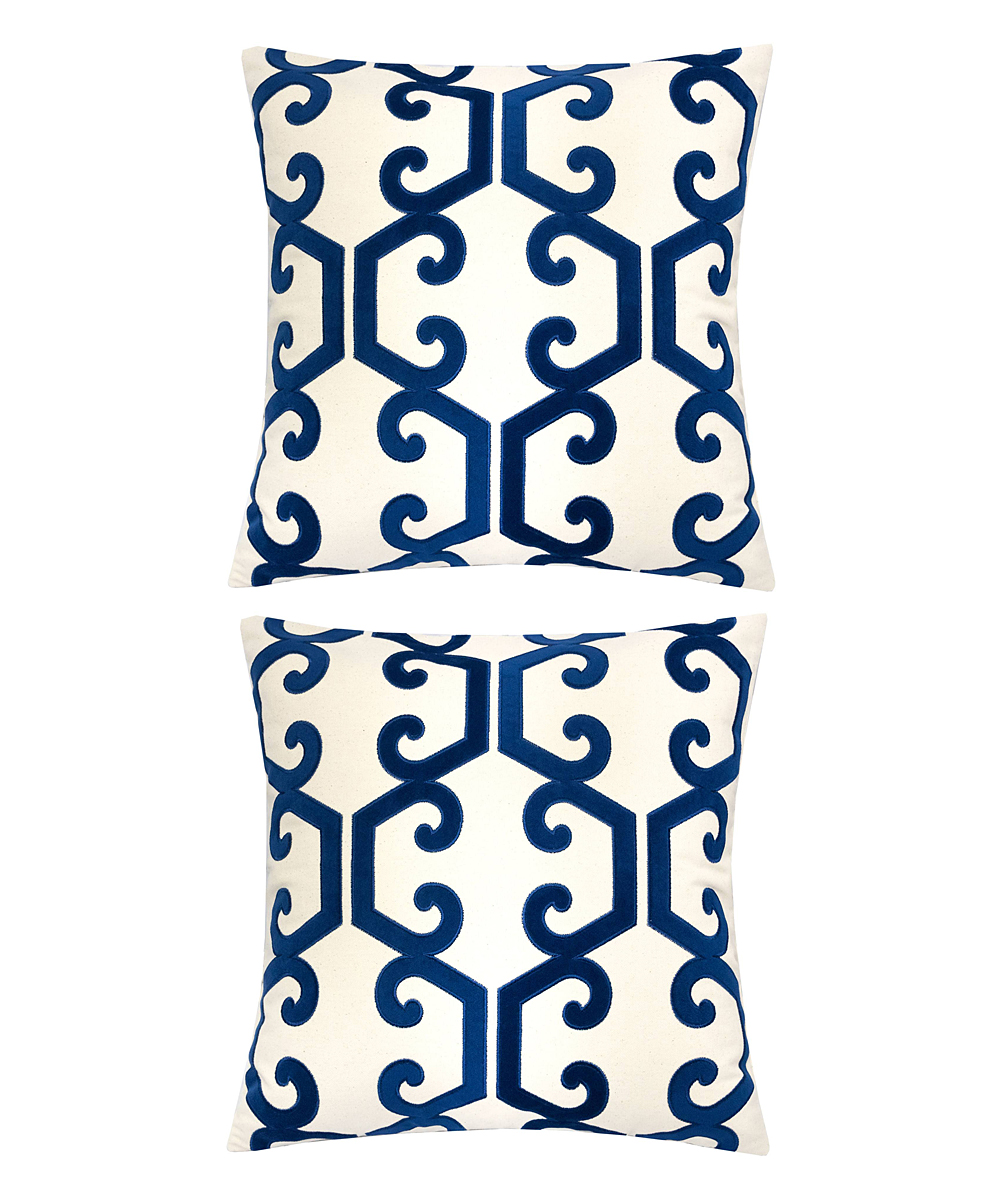 Home Accent Pillows  Throw Pillows Indigo - Indigo & Cream Scroll Honeycomb Throw Pillow - Set of Two Indigo & Cream Scroll Honeycomb Throw Pillow - Set of Two. Infuse your interior decor with added excitement by bringing in these throw pillows boasting a bold geometric motif. Includes two throw pillows (two pillows and two inserts)100% polyesterSpot cleanImported