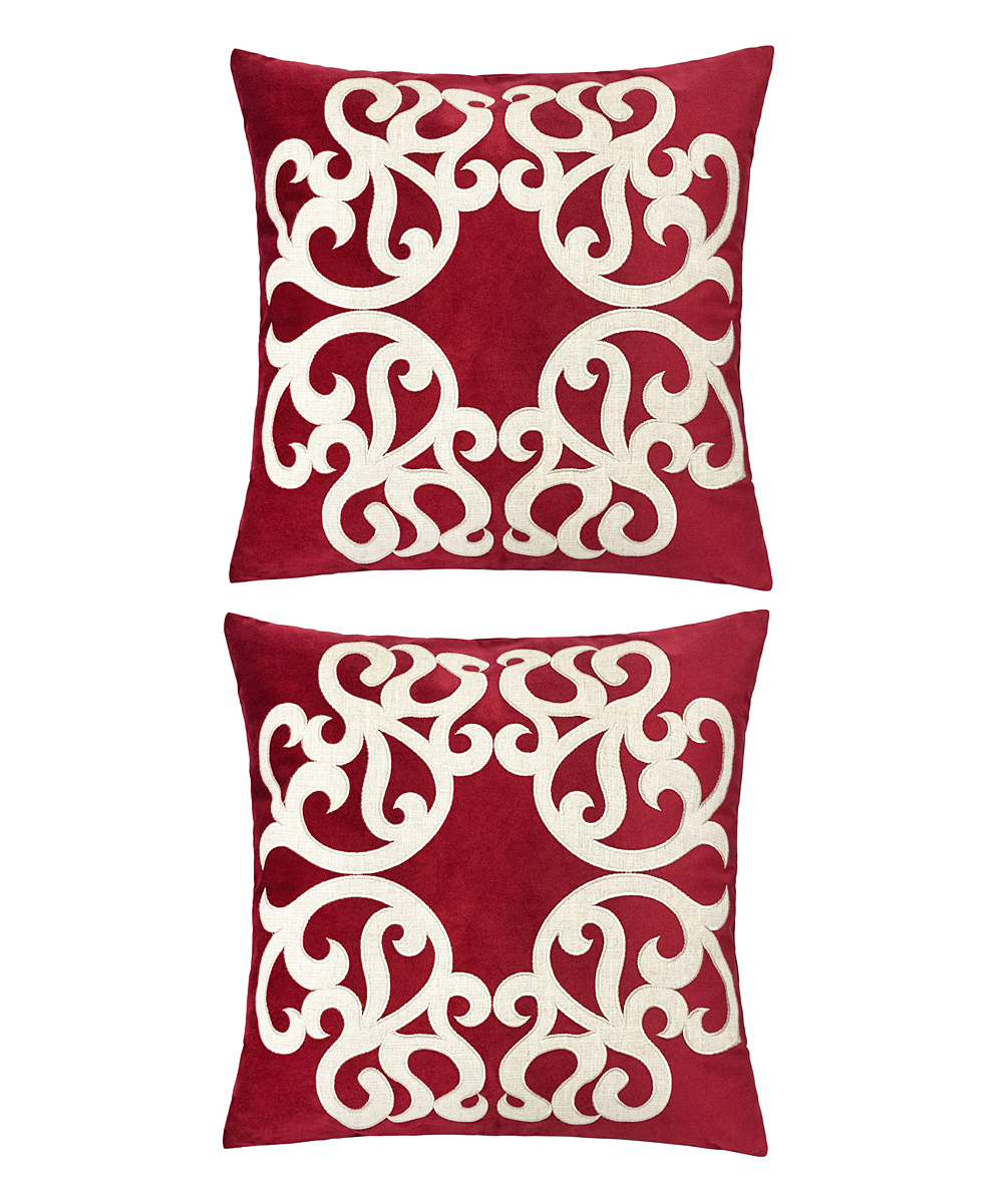 Home Accent Pillows  Throw Pillows Red - Red & Cream Ornate Throw Pillow - Set of Two Red & Cream Ornate Throw Pillow - Set of Two. Enliven your space by updating your couch or bed with these throw pillows that help to introduce a fun pop of color into decor. Includes two throw pillows (two pillows and two inserts)100% polyesterSpot cleanImported