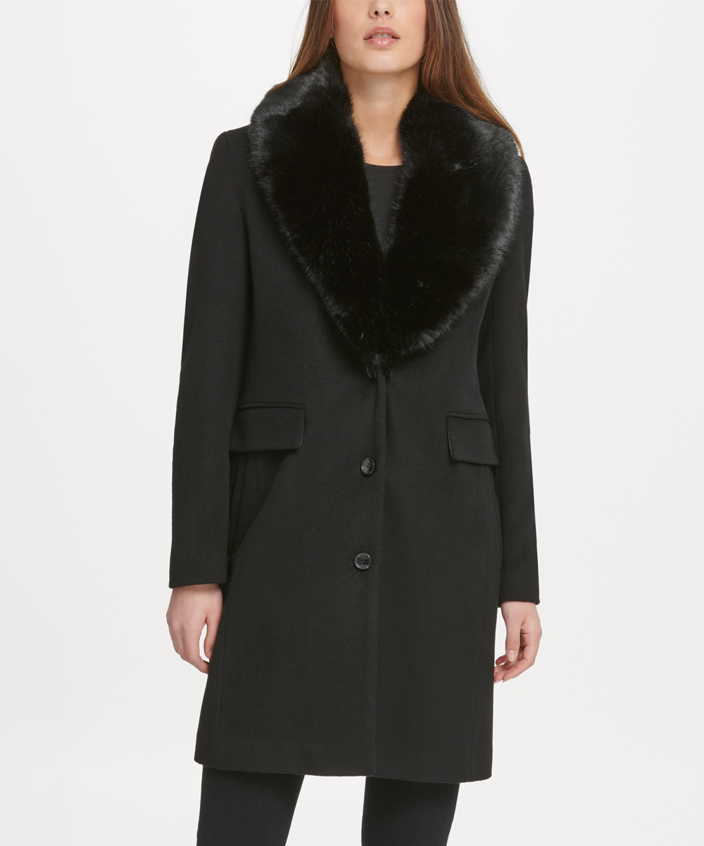 DKNY Womens Overcoats BLK:BLACK - Black Furry-Trim Shawl-Collar Wool Blend Coat - Women & Petite
