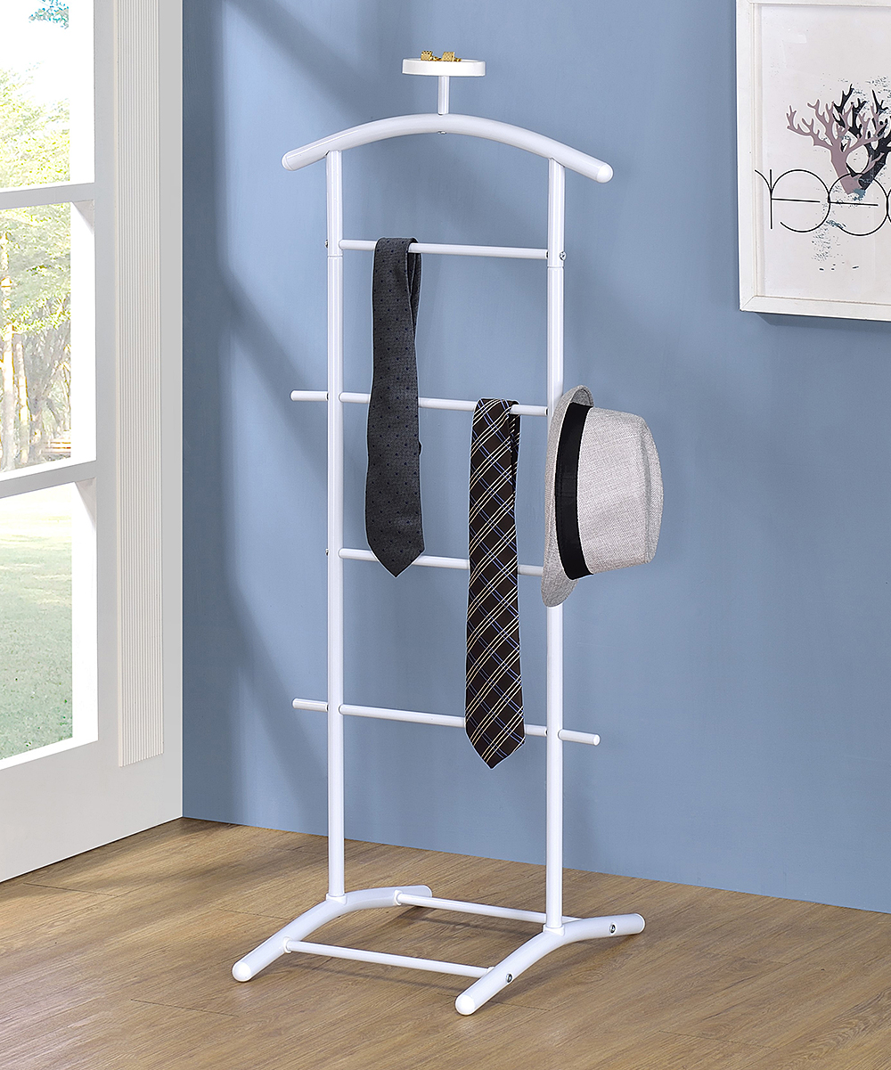 Pilaster Designs  Towel Racks White - White Carlsen Clothing Rack White Carlsen Clothing Rack. Rejuvenate the atmosphere of your restroom when you add this clothing rack showcasing a modern silhouette complete with supportive bars to provide style and function.18.5'' W x 45'' H x 17'' DMetalAssembly requiredImported