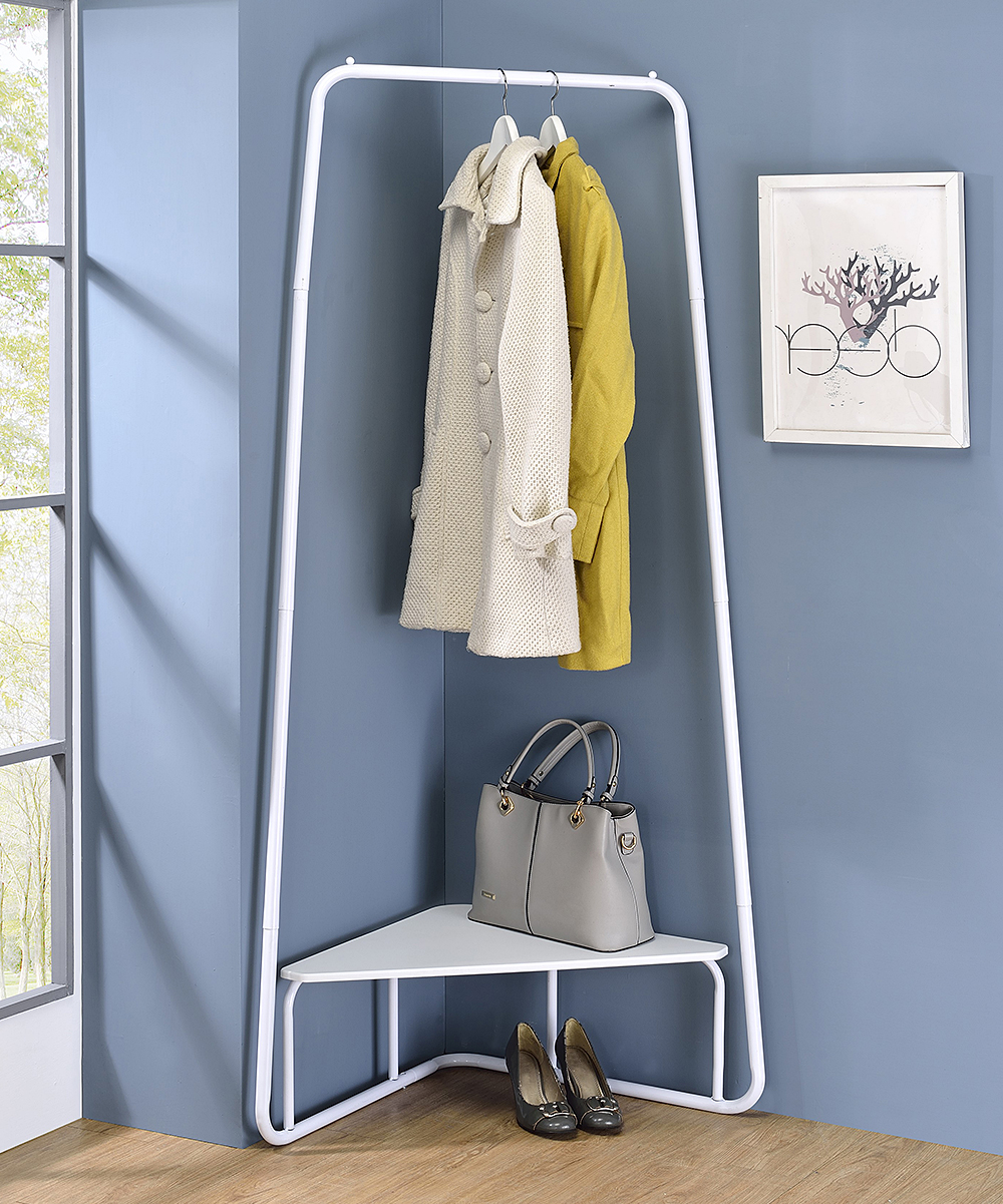 Pilaster Designs  Coat Rack White - White Knorr Corner Clothing Rack White Knorr Corner Clothing Rack. Rejuvenate the atmosphere of your restroom when you add this clothing rack showcasing a modern silhouette complete with supportive bars to provide style and function.32'' W x 10'' H x 14.5'' DMetal / woodAssembly requiredImported