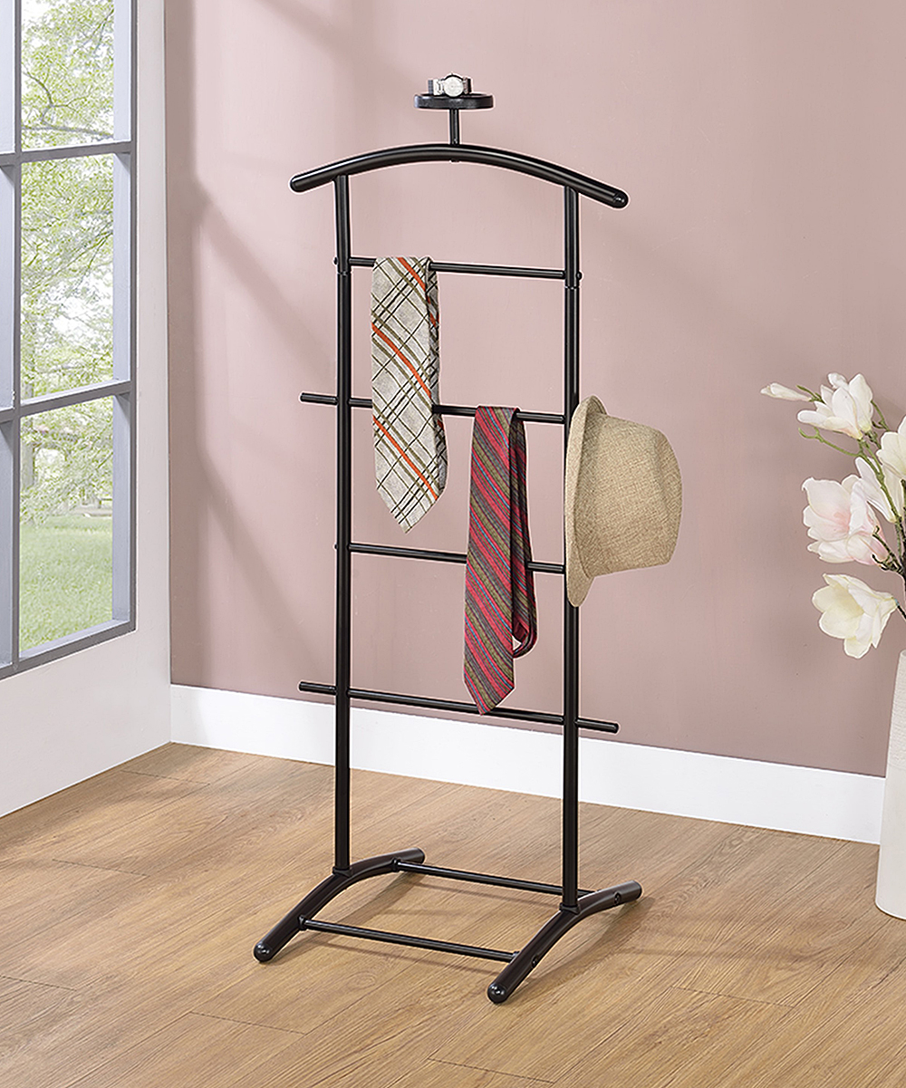 Pilaster Designs  Towel Racks Black - Black Carlsen Clothing Rack Black Carlsen Clothing Rack. Rejuvenate the atmosphere of your restroom when you add this clothing rack showcasing a modern silhouette complete with supportive bars to provide style and function.18.5'' W x 45'' H x 17'' DMetalAssembly requiredImported