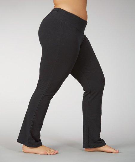 f6668eadc5d Marika Black Flat-Waist Fleece Yoga Pants - Plus