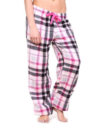 02bc95af913 Totally Pink Light Pink Plaid Plush Pajama Pants - Women & Plus   Zulily
