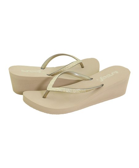 433091f0f792 love this product Taupe   Champagne Krystal Star Wedge Sandal