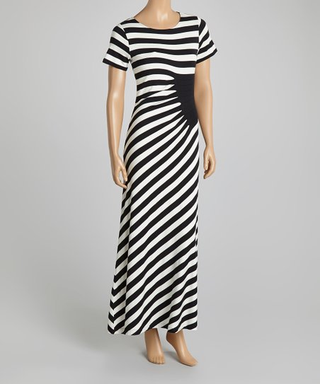 Eci New York Black White Diagonal Stripe Maxi Dress Zulily