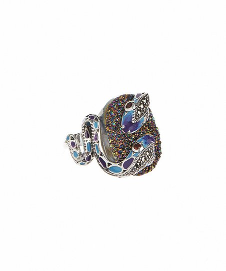 98d9f753c love this product Sterling Silver & Swarovski Marcasite Snake Drusy Ring