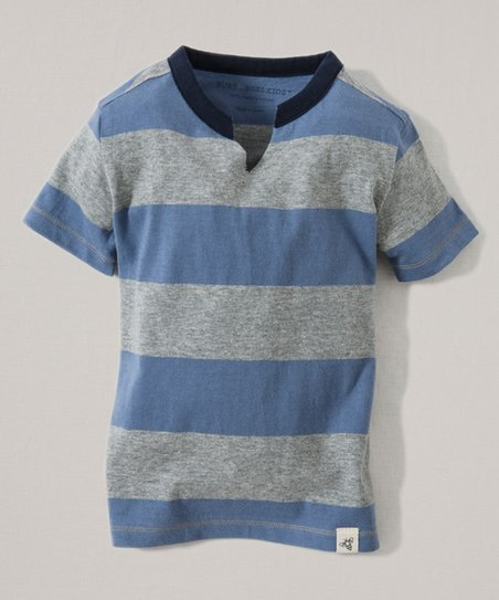 293235792035 Burts Bees Baby Blue Rugby Stripe Organic Tee - Infant