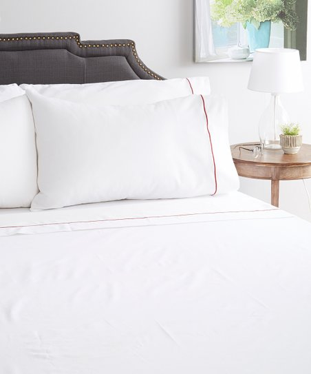 Love This Product White Red Symphony Egyptian Cotton Blend Sheet Set
