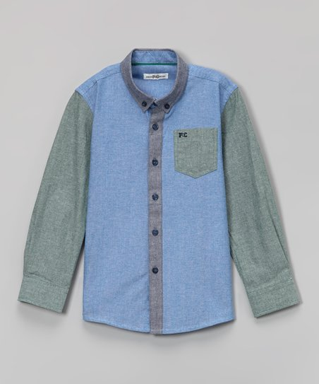 1fd763c9a French Connection Chambray Color Block Button-Up - Boys | Zulily