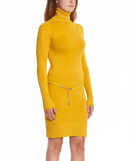 eda1ea2d30a love this product Mustard Turtleneck Sweater Dress