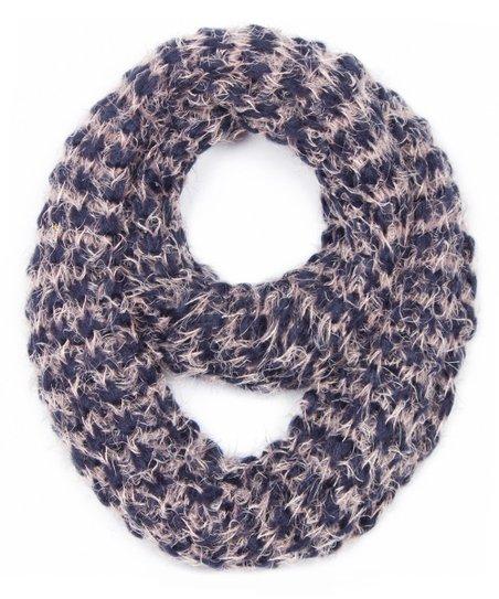 Jasmine Navy & Cream Fuzzy Stripe Infinity Scarf