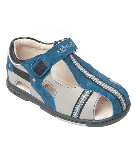 901703cc8 love this product Gray   Blue Cross-Strap Leather Sandal - Boys