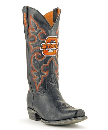 Gameday Boots Oklahoma State Cowboys Black Leather Cowboy