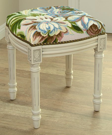 Astounding 123 Creations Blue Magnolia Needlepoint Wool Vanity Stool Creativecarmelina Interior Chair Design Creativecarmelinacom
