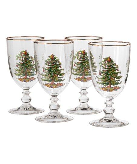 Spode Christmas Tree.Spode Christmas Tree Goblet Set Of Four