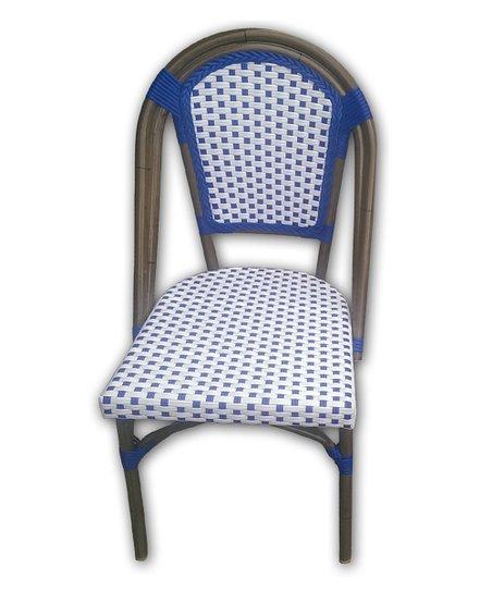 Wondrous Tiab Inc White Navy French Bistro Cafe Chair Set Of Two Inzonedesignstudio Interior Chair Design Inzonedesignstudiocom