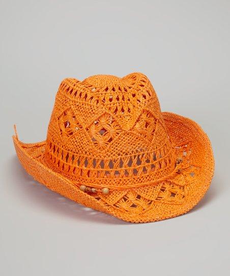 Orange Crocheted Cowboy Hat Zulily
